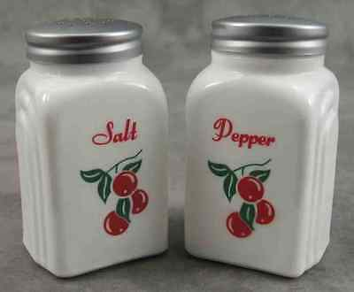 MILK WHITE GLASS RED CHERRIES CHERRY SALT & PEPPER SHAKER SET ~Red Lettering ~