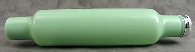 JADEITE GREEN GLASS ROLLING PIN w/ WATER FILL METAL END CAP