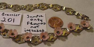 2 Vtg Signed Coro Bracelet Findings Add Flowers Stone Jewelry lot Craft Repair