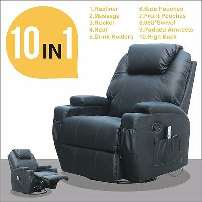 Leather Cinema Electric Massage Rocking Swivel Gaming Recliner Chair 2 Colours