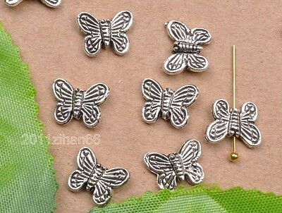 wholesale 30pcs tibetan silver butterfly beads spacer Charms bead 10x8mm