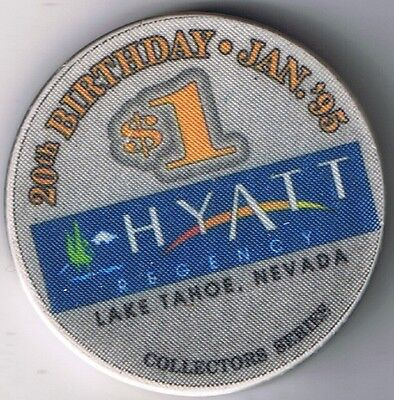 Hyatt Regency $1.00 Casino Chip 20th Birthday Incline Village N. Lake Tahoe Nv