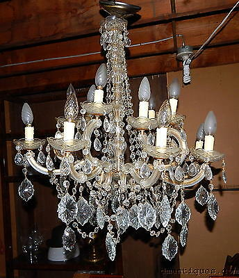 Elegant Beautiful Antique Cut Crystal Chandelier 8 Arms 16 Lights Top Quality