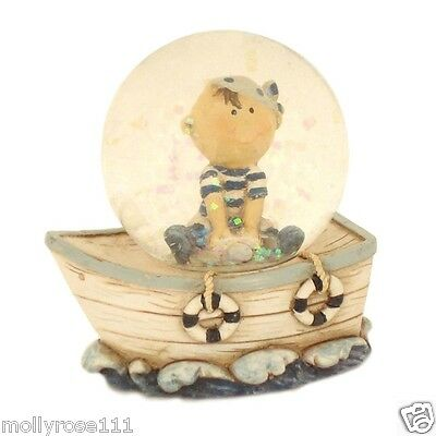 Boys Pirate With Boat Snowglobe 45mm Glitter Water Ball -Blue & White
