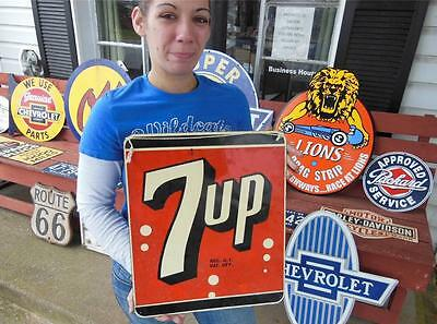 Original 1950's 7-Up Soda Pop Country General Store Tin Advertising Sign