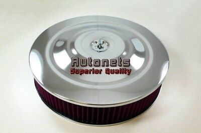 """14"""" Round Performance Style Washable Element Chrome Air Cleaner Street Hot Rod"""