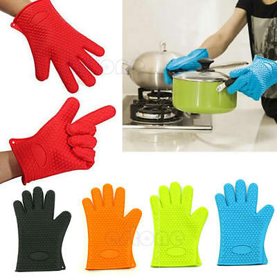 Silicone Oven Glove Kitchen Heat Resistant Pot Holder Baking BBQ Cooking Mitts