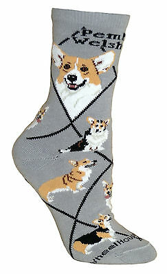 Pembroke Welsh Corgi Dog Gray Cotton Ladies Socks