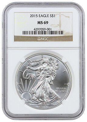 2015 - 1 Troy Oz Silver American Eagle $1 NGC MS69 Mint State 69 SKU33780