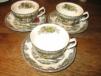 """3 VINTAGE  JOHNSON BROTHERS """" THE FRIENDLY VILLAGE """" CUPS & SAUCERS"""