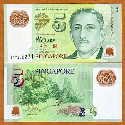 Singapore, 5 Dollars, ND (2010), Polymer, P-New, UNC   one square