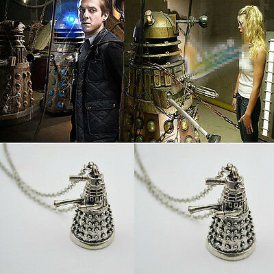 Dalek Robot 3D Silver Metal Doctor Who Inspired Pendant Chain Necklace #