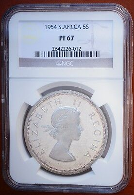 1954 South Africa 5 Shillings Silver Crown  KM# 52 Proof Coin NGC PF67