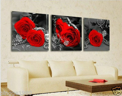 3 piece Hot Modern rose flower Abstract Picture Decorative Canvas Painting