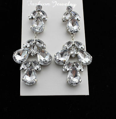 New Cute Girl's Fashion Silver Plated Clear Crystal Flower Drop Dangle Earring