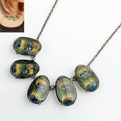 N1185 Retro Style Peacock Feather Shape Vintage Pendant Chain Necklace