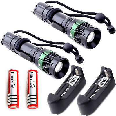 2PC 2000LM Zoomable CREE XM-L T6  LED Flashlight Torch +2x Battery + 2x Charger
