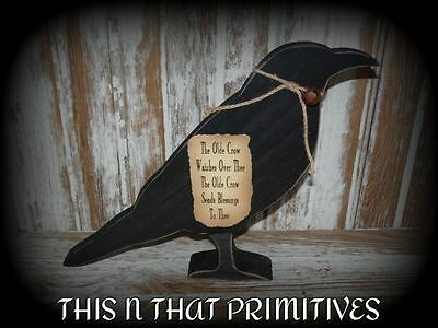 primitive decor~ large wooden crow w/ sign ~ country ~ americana