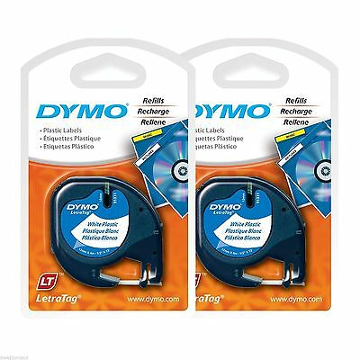 2PK LetraTag WHITE Plastic LT Label Refill Tapes Dymo 91331 Letra Tag 2-PACK NEW