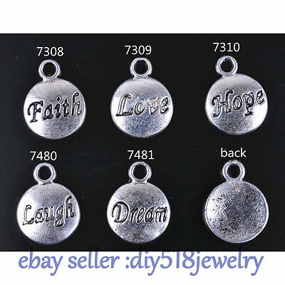 20 Pieces Love Hope Faith Dream Laugh Charm Tibetan SIlver Plate DIY Jewelry
