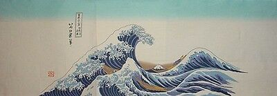 Tenugui Japanese Cotton 'The Wave' Fabric by Hokusai