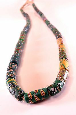 "20"" Strand of 44 1800's Ancient MILLEFIORI AFRICAN VENETIAN TRADE BEADS Green"