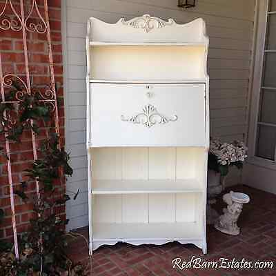 Chic Painted Secretary Hutch Bookcase Shabby Furniture Hand Painted Desk