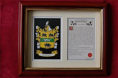 SWEENEY Family Framed Heraldic Coat of Arms Crest + History