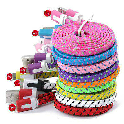 1/2/3M Fabric Braided Flat USB Charger Data Sync Cable For iPhone 5 5S 6 6 Plus