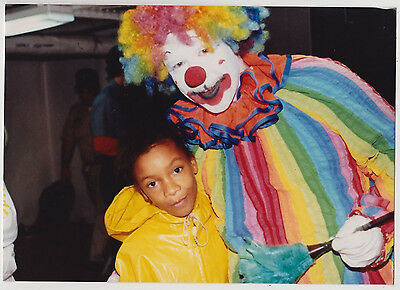 Vintage 80s PHOTO Young Little Black Girl w/ Clown