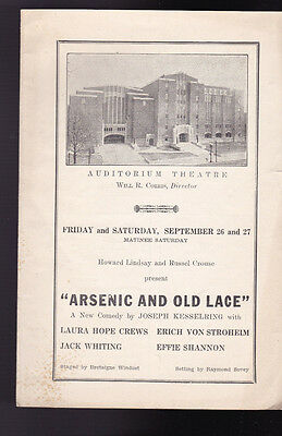 Arsenic & Old Lace 1940s Auditorium Theatre Program Rochester NY