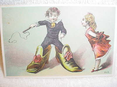 Victorian Trade Card - Boy In Big Shoes - No Advertising
