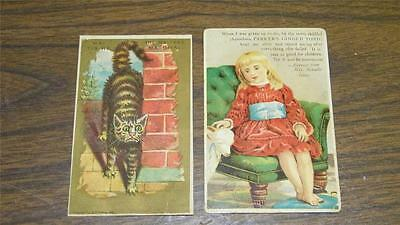 2pc ANTIQUE VICTORIAN TRADE CARD 1881 MALTESE RIVAL CAT PARKERS GINGER TONIC
