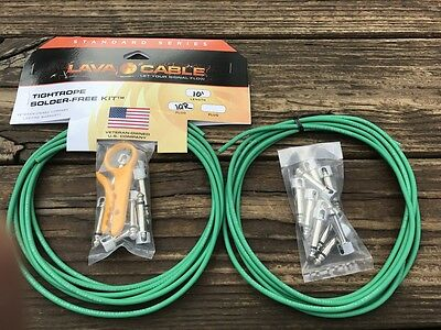 LAVA TIGHTROPE Solder-Free XL Pedalboard Kit - 20ft Cable, 20 RA Plugs GREEN