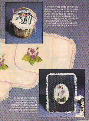 Cross Stitch Pattern: Violets in a soft frame and in a box: 2 patterns