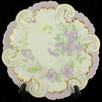 "Antique Limoges France Hand Painted Sweet Peas Cabinet Plate 9.5"" Lavender"