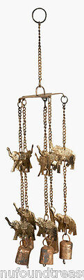 Elephant Parade Ready Antique Finish Gold Colored Wind Chime Copper Bells New