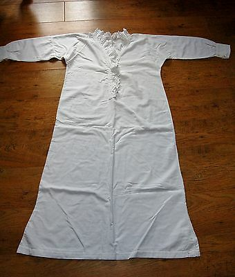Vintage French 1920 handmade Nightdress White Brushed Cotton Long Sleeve Winter