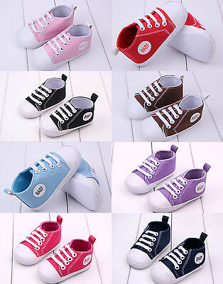 Cute Boy Girl Baby Soft Sole Crib Canvas Shoes Infant Toddler Sneaker Newborn