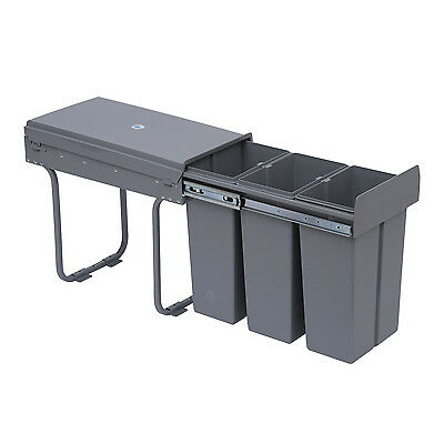Recycle Waste Bin 30L Sorter Recycling Pull Out & Soft Close Kitchen Cabinet