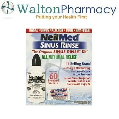 NeilMed Sinus Rinse 60 Sachets kit & 240ml bottle kit natural saline sinurinse