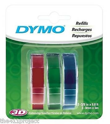 "3PK Dymo 3/8"" (9mm) Label Maker 3D Embossing Tapes 1741671 (Red Green Blue) NEW"