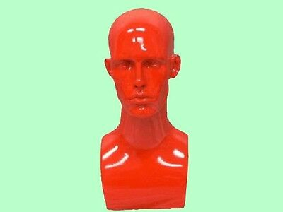 Male Fiberglass Mannequin Head Bust Wig Hat Jewelry Display #EraRed