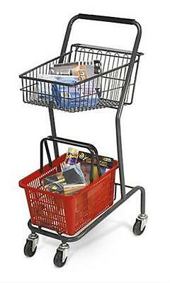 For Sale Mini Retail Store Shopping Cart with Red Basket  (Grey)