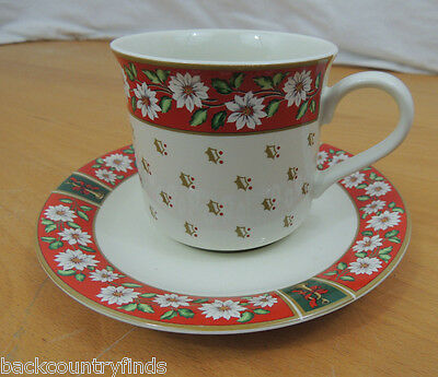 Charlton Hall Kobe CLASSIC TRADITIONS WHITE FLORAL RED 1 Flat Cup & Saucer Set