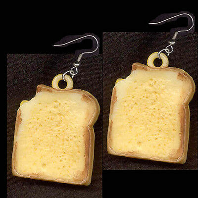 Vintage SANDWICH EARRINGS Bread Toast Grilled Cheese Food Charms Funky Jewelry
