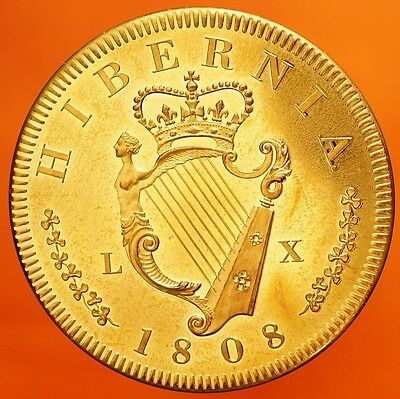 1808 Ireland Retro Pattern Proof Crown Golden Alloy George III Hibernia