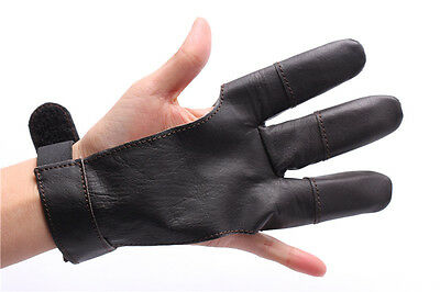 LongBowMaker Archery Hunting Three Finger Shooting Fine Leather Gloves