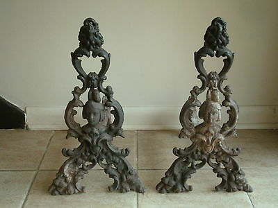 19thc. Antique Victorian Cast Iron Figural Fireplace Andirons SALE