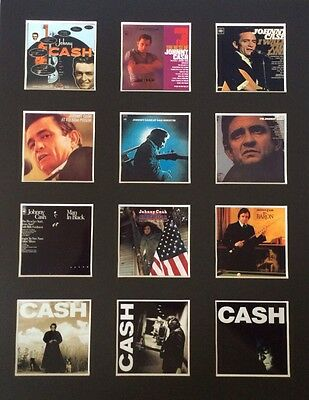 "Johnny Cash 14"" By 11"" Lp Discography Covers Picture Mounted Ready To Frame"